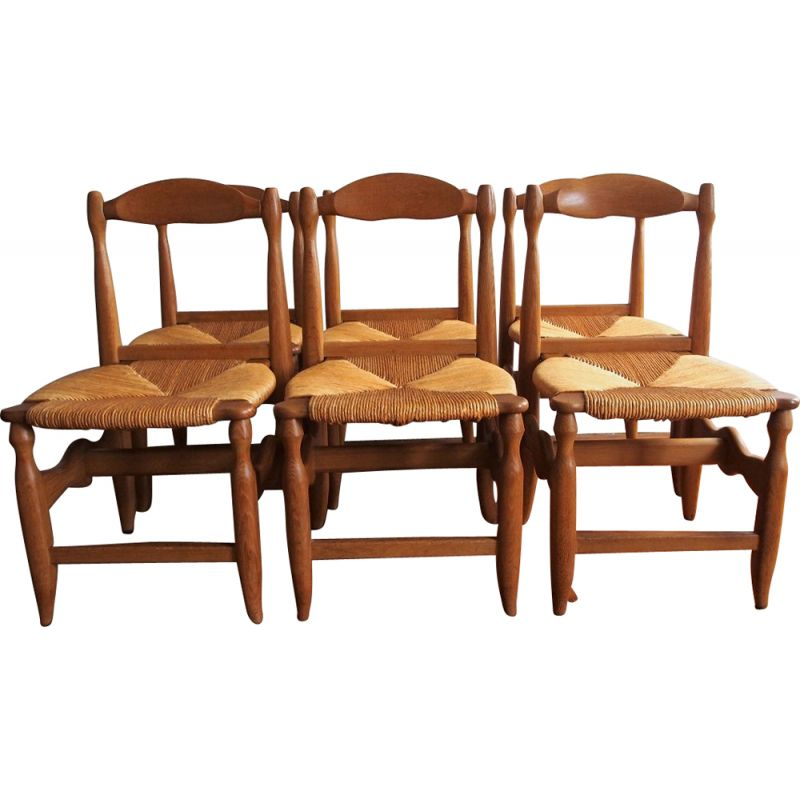 Serie of 6 vintage chairs in solid oak by Guillerme and Chambron 1960