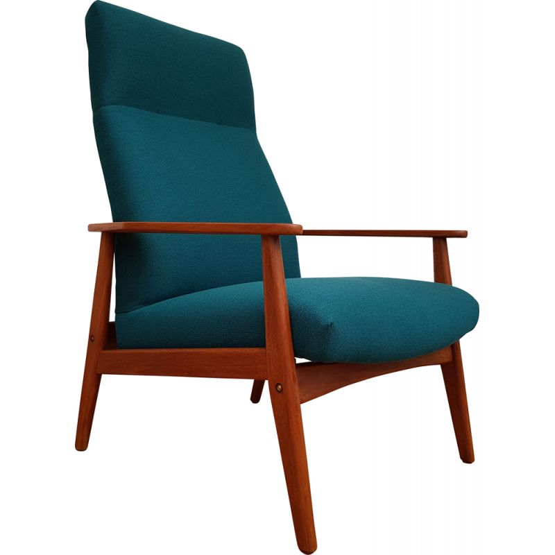 Vintage teak greenblue armchair with swing function 1960s