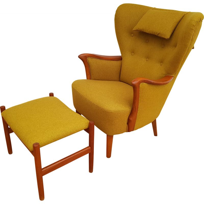 Vintage yellow armchair with foot stool 1960s