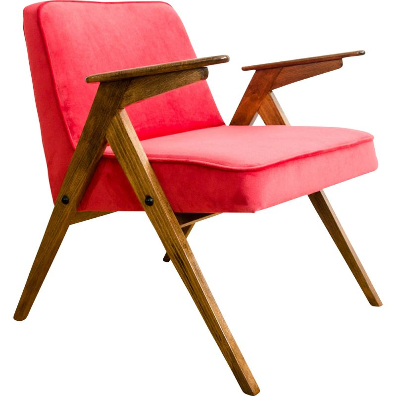 Vintage armchair in beech and red fabric