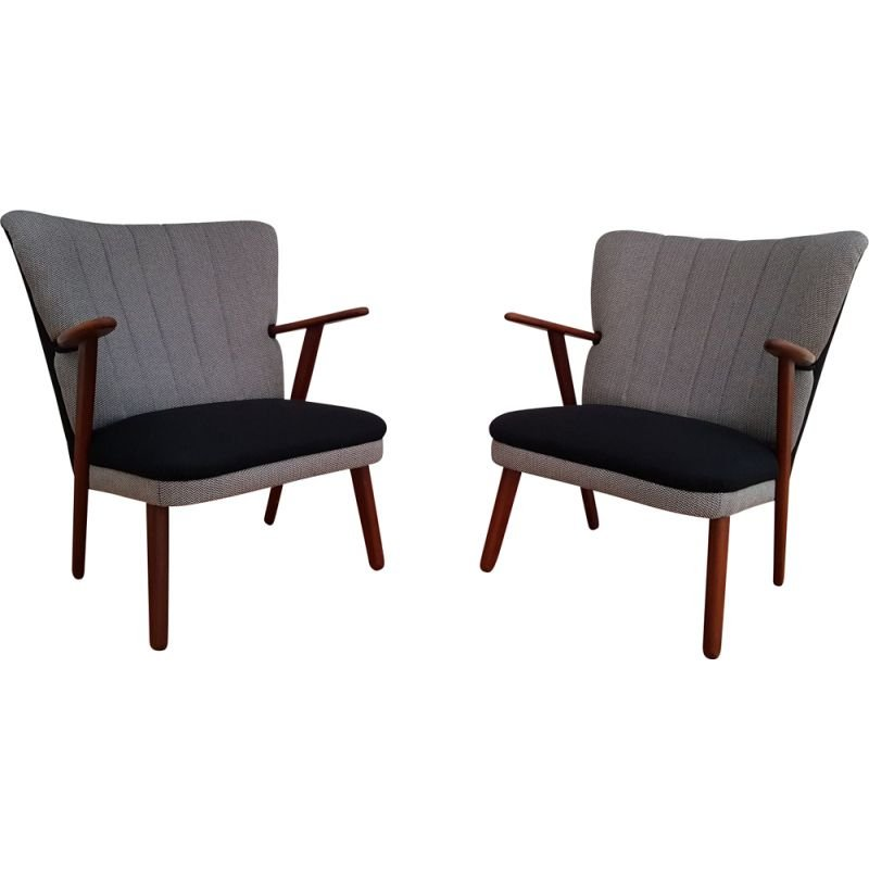 Pair of Danish armchairs in wool and teak
