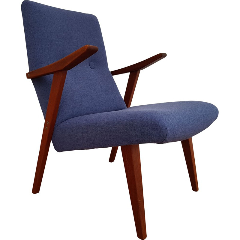 Scandinavian blue armchair in teak