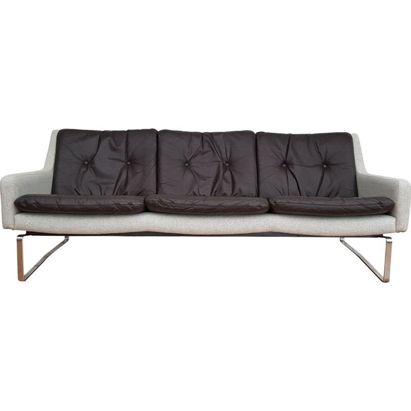 Danish 3-seater sofa in wool and leather