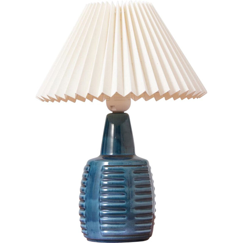 Blue ceramic table lamp by Einar Johansen for Soholm