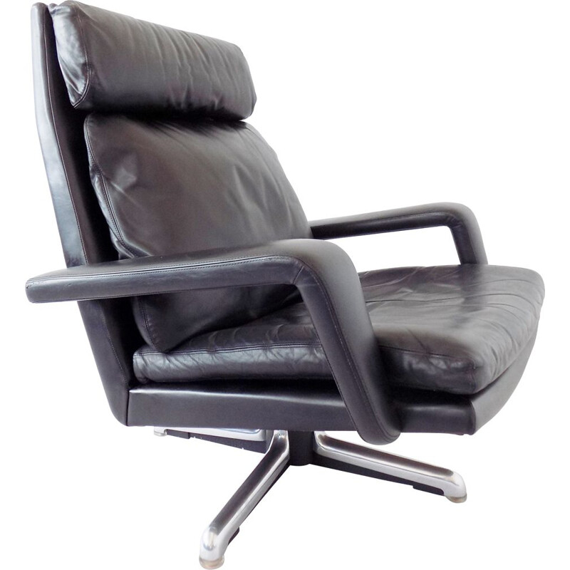 Black leather armchair by Hans Kaufeld