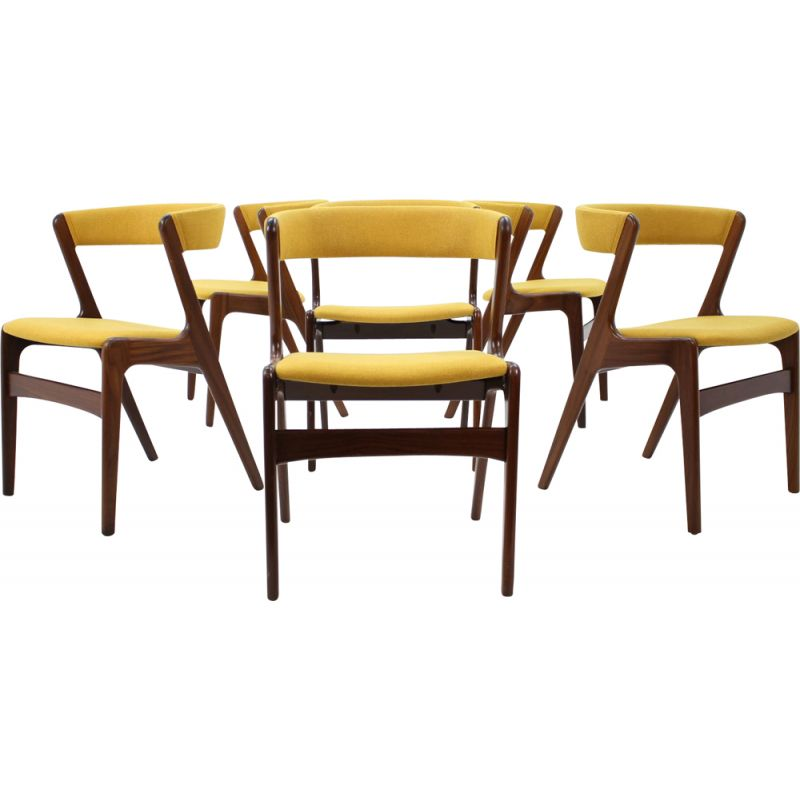Set of 6 yellow chairs in teak by Kai Kristiansen