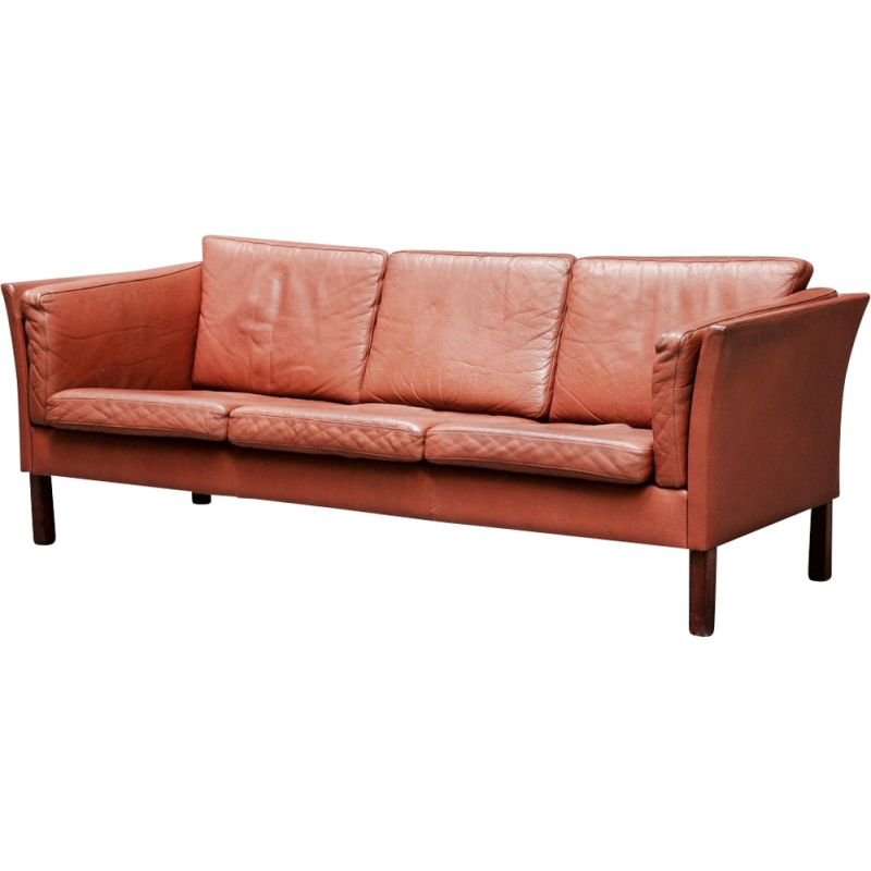 Scandinavian 3-seater sofa in brown leather and teak