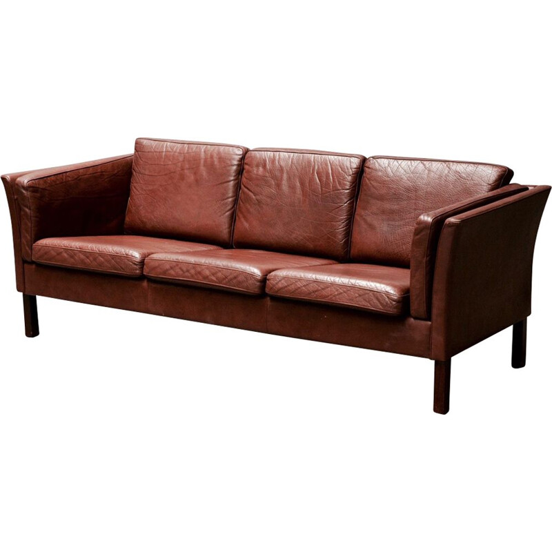 Vintage brown leather 3-seater sofa