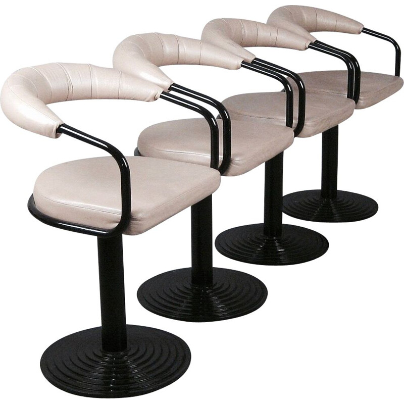 Set of 4 swiveling bar stools in metal