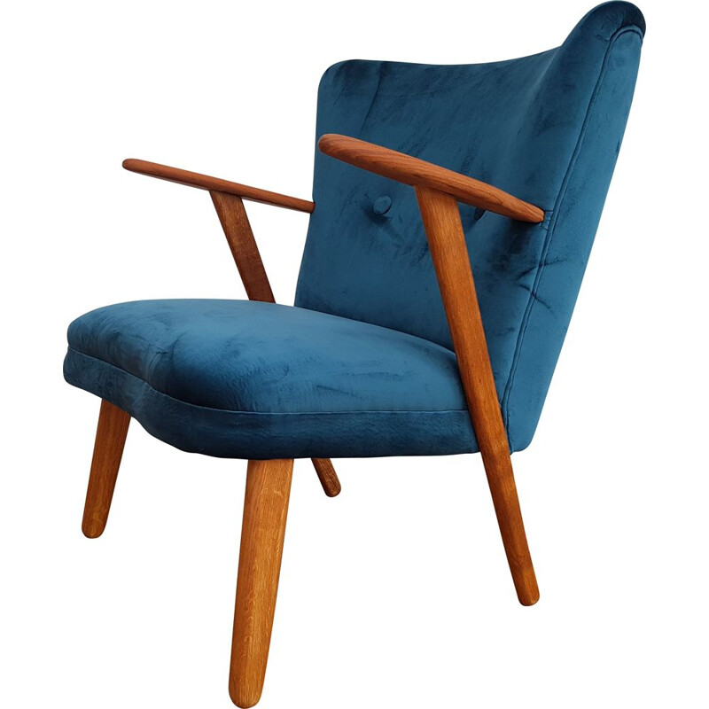 Danish armchair in blue velvet and teak