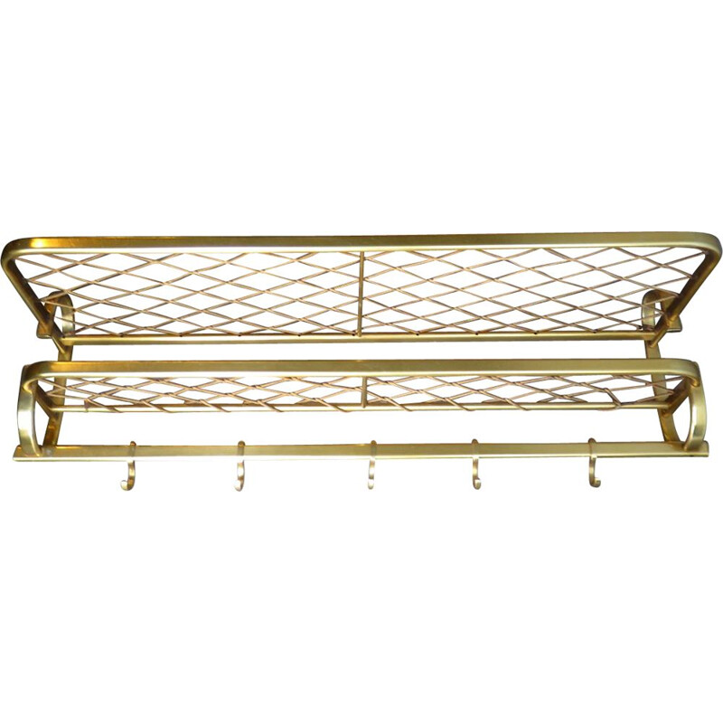 Vintage golden aluminium coat rack with sting shelf 1960