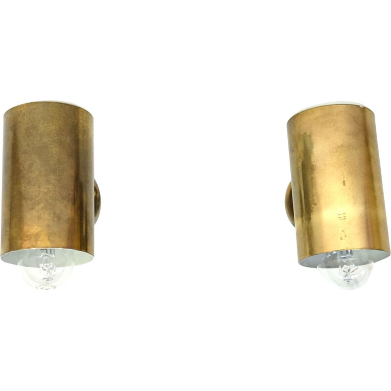 Pair of vintage italian sconces in gilded metal and brass 1950
