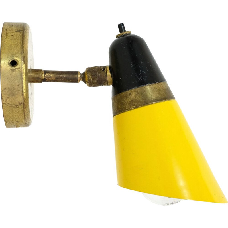 Vintage italian yellow and black sconce 1950