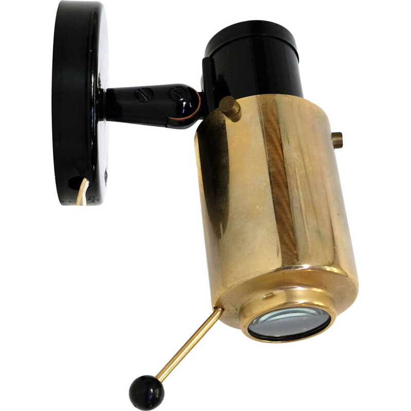 Vintage Zodiac two-tone sconce for LITA in black metal and brass 1950