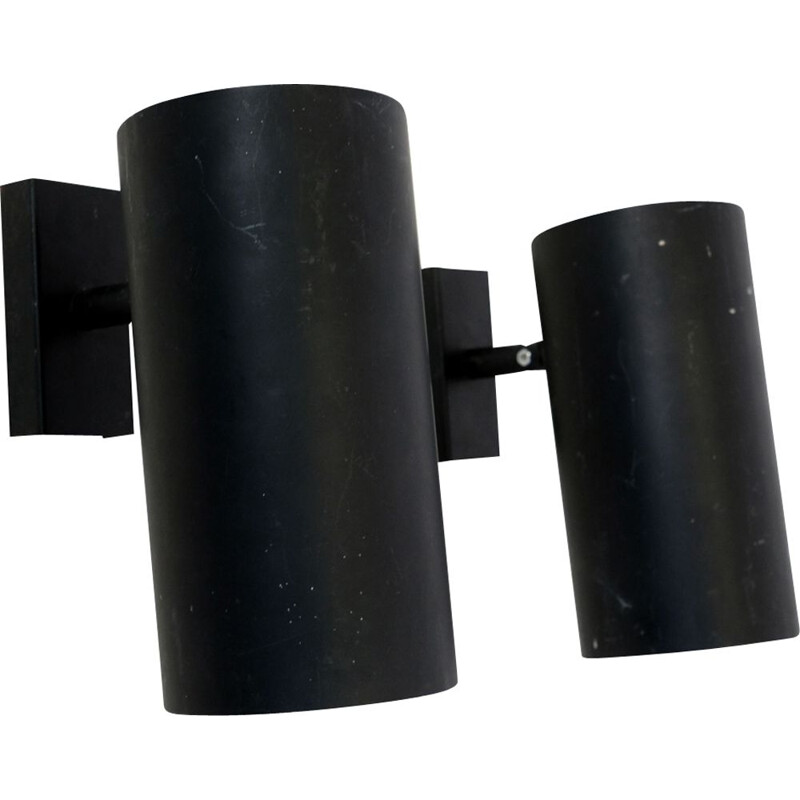 Pair of vintage sconces for LITA in black lacquered metal 1950
