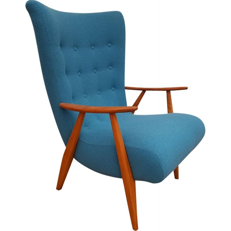 Vintage danish armchair in blue wool and beechwood 1960