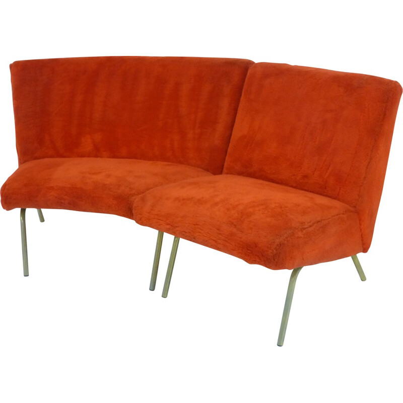 Steiner corner sofa in fabric and metal, Joseph André MOTTE - 1950s