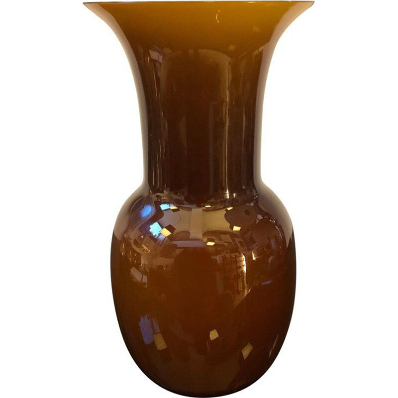 Vintage brown vase in Murano glass