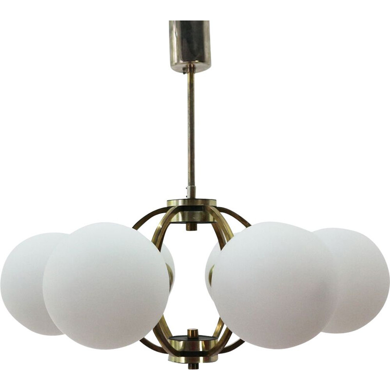 Vintage chandelier in brass with frosted glass shades 1950s
