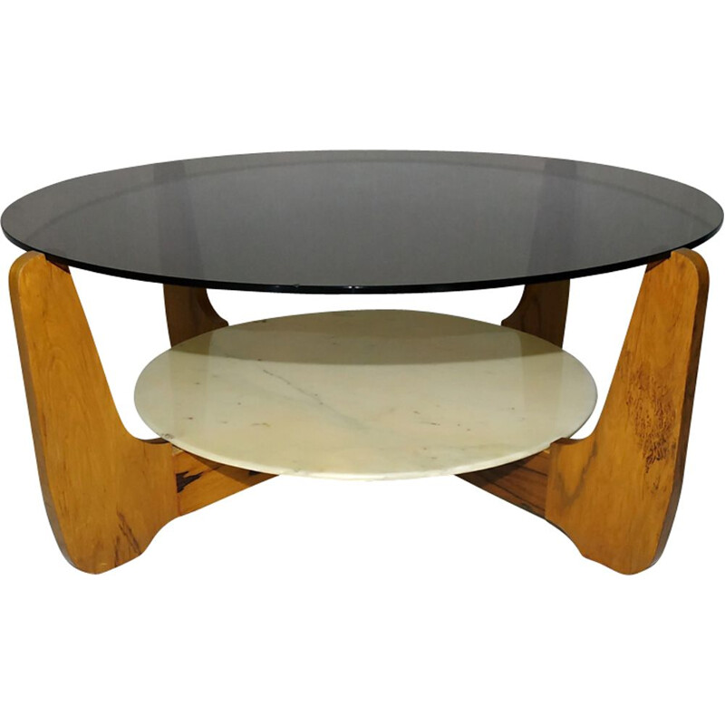 Vintage coffee table in glass, marble and rosewood by Hugues Poignant 1960s