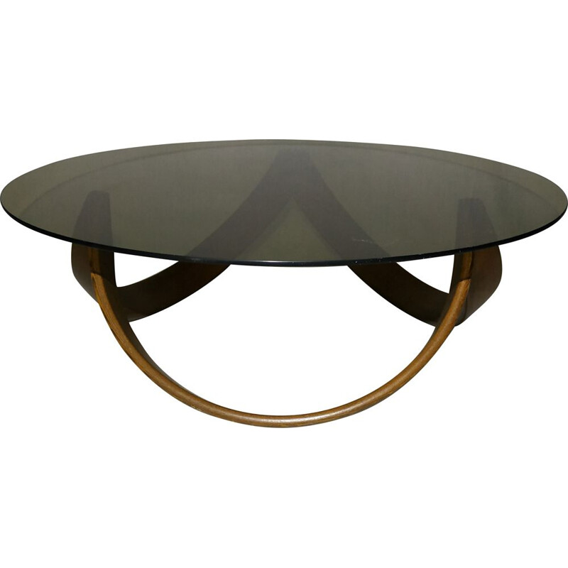 Vintage coffee table in teak and glass Scandinavian 1960s