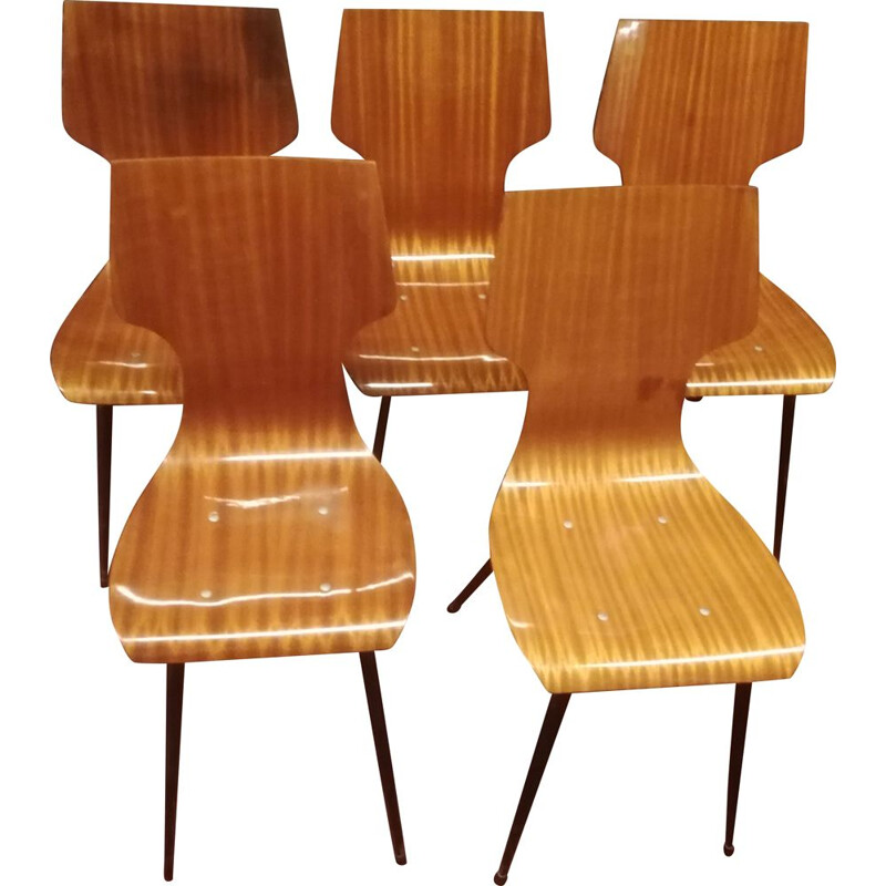 Set of 5 vintage chairs in mahogany Italy 1950s
