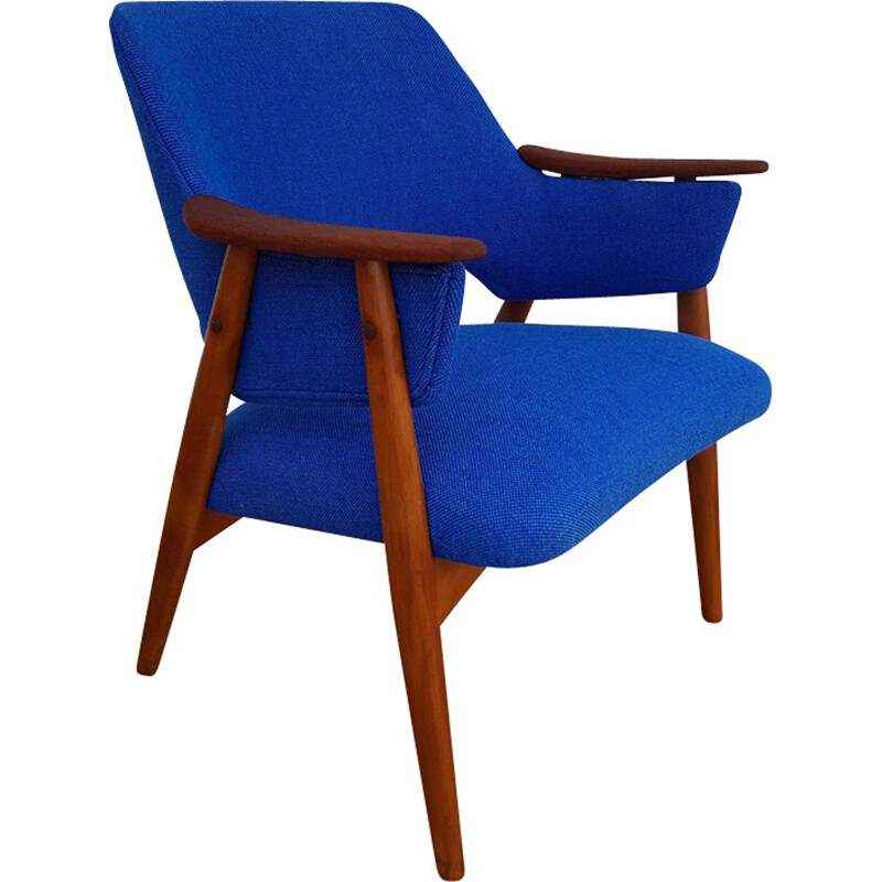Vintage armchair in teak and beech Kvadrat wool Scandinavian 1960s