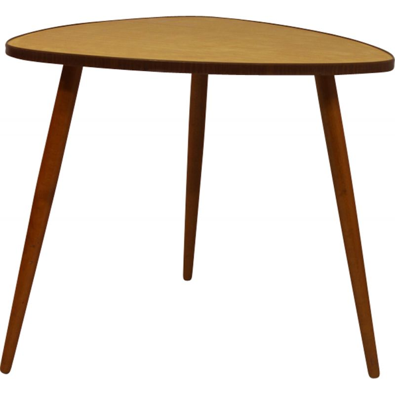 Vintage coffee table in teak tripod pebble shape 1960s