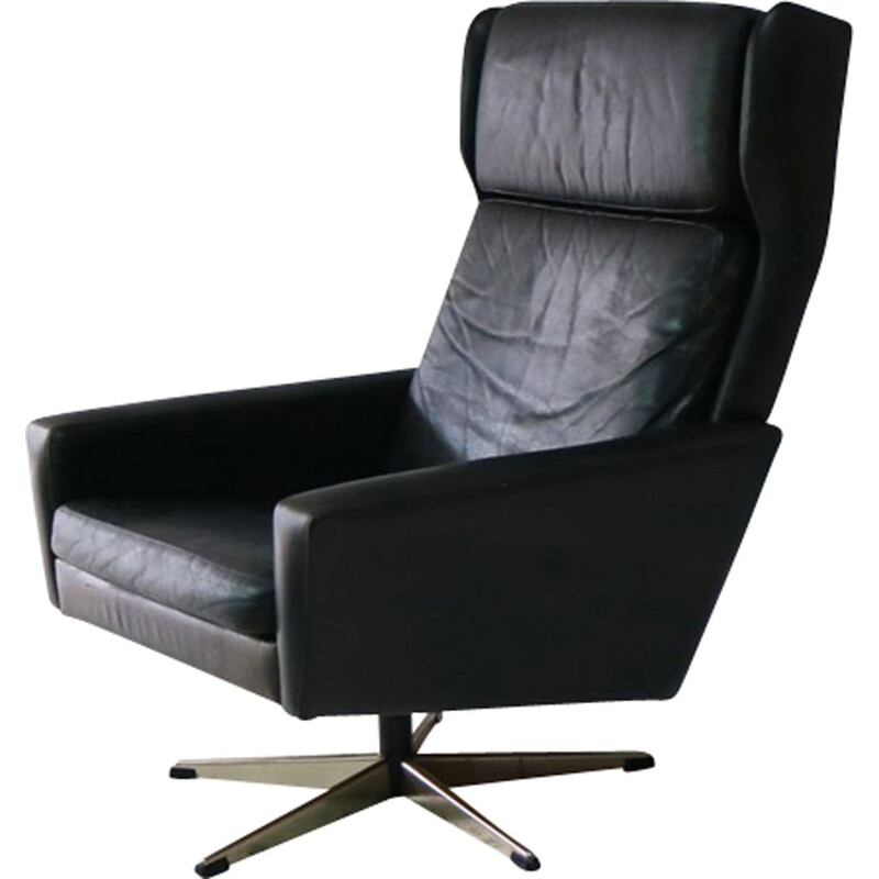 Vintage black leather armchair 1960