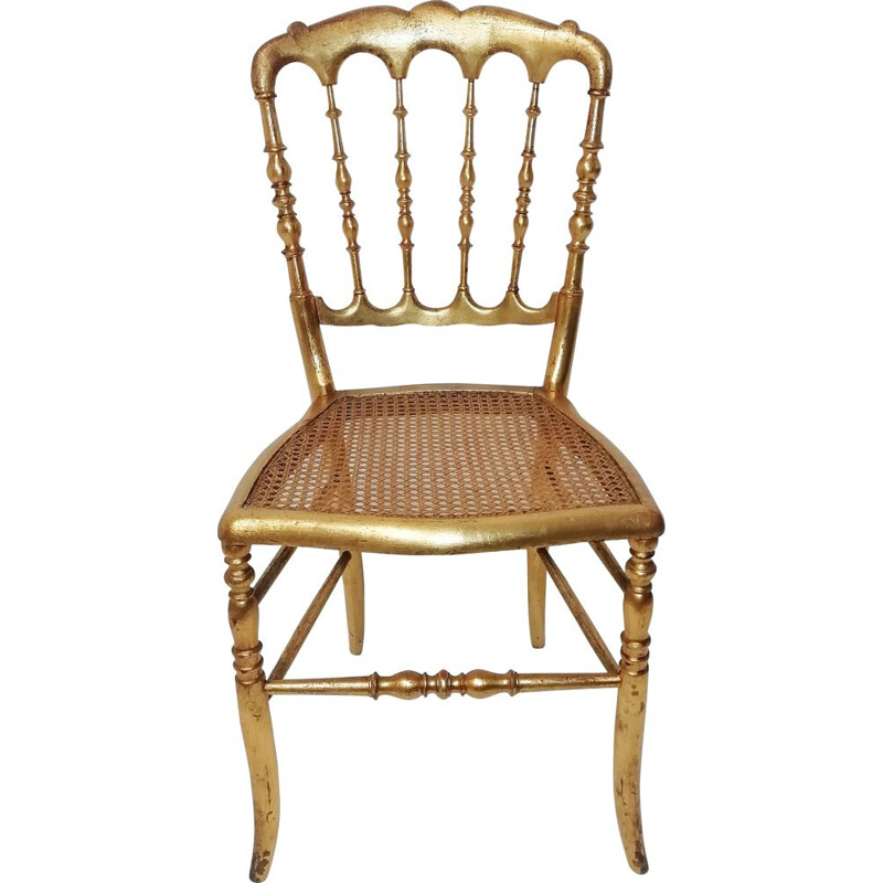 Vintage Napoleón chair in gilded wood 1980s