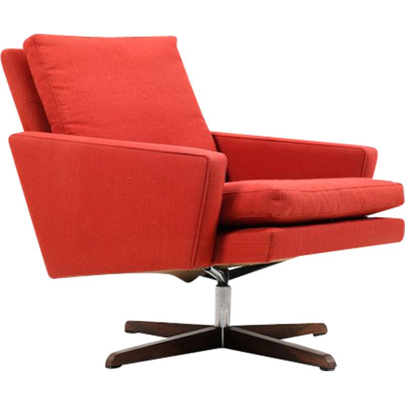 Vintage red  swivel armchair 1960