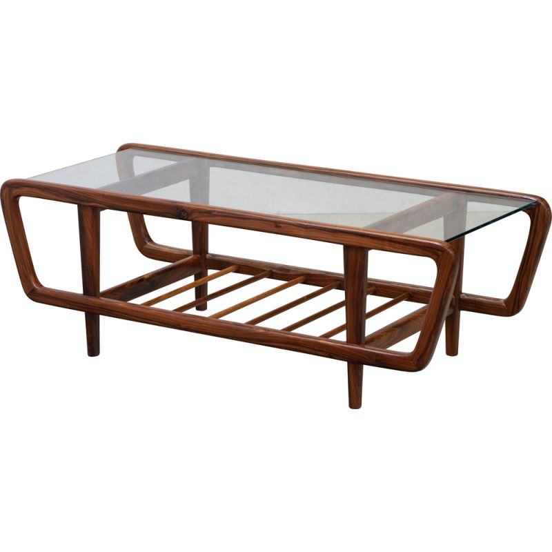 Vintage rosewood coffee table by Giuseppe Scapinelli 1950
