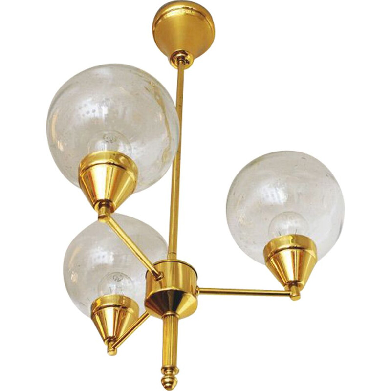 Chandelier with 3 clear glassdomes 1960s