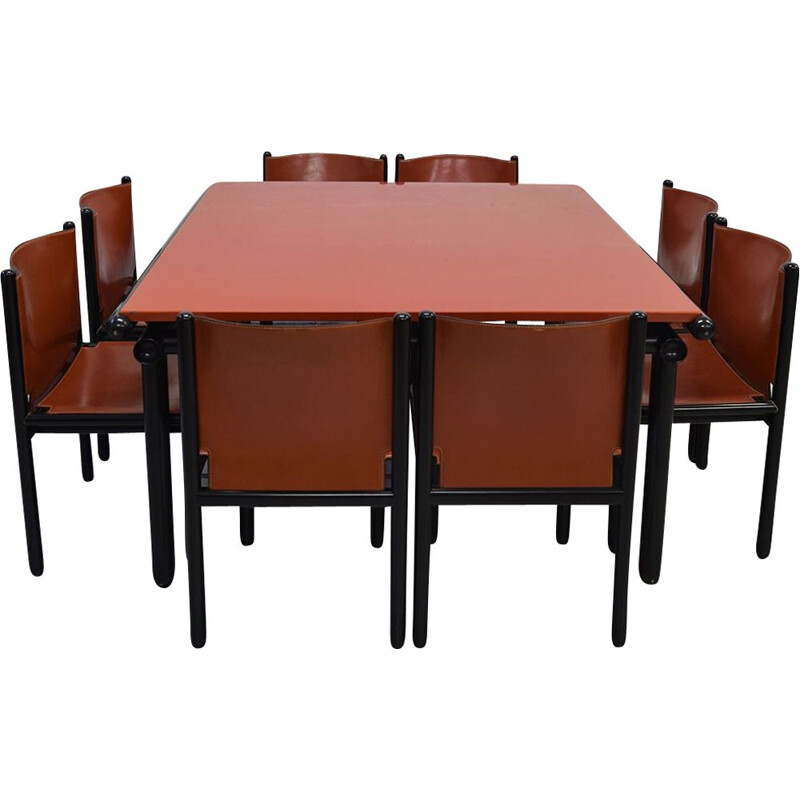 Vintage Capri and Caprile dining set for Cassina in brown leather and wood 1985