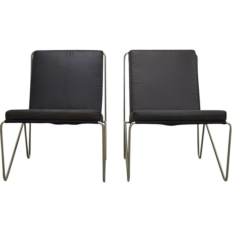 Pair of vintage Bachelor chairs for Fritz Hansen in black fabric and steel 1960