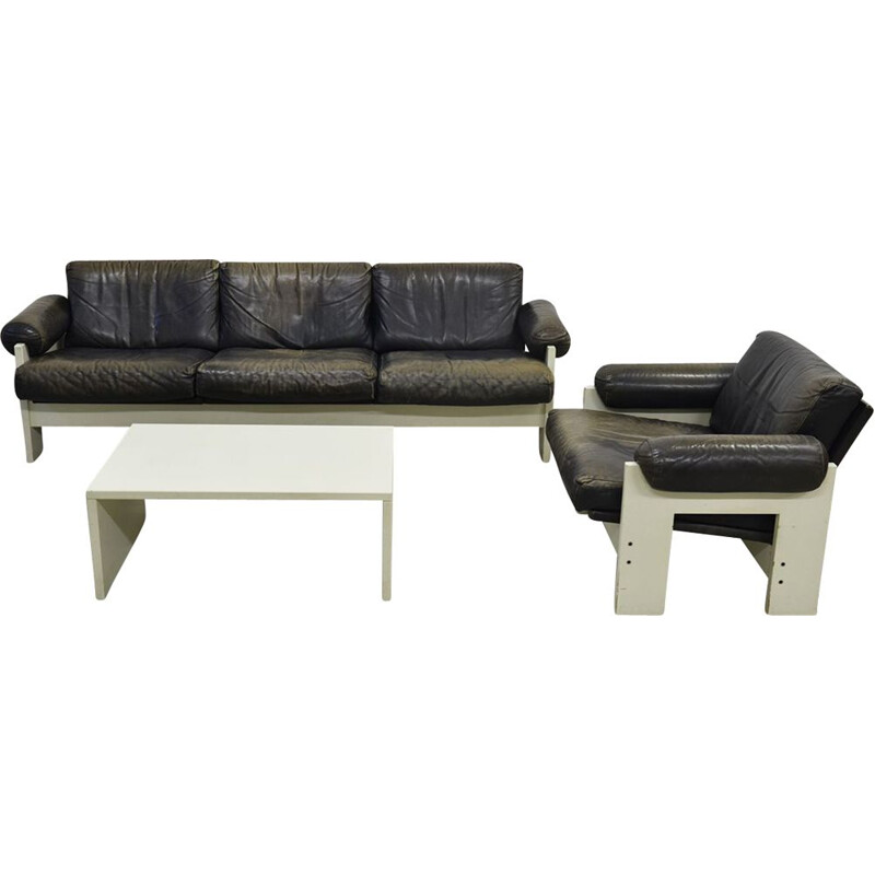 Vintage lounge set for 't Spectrum in black leather 1960