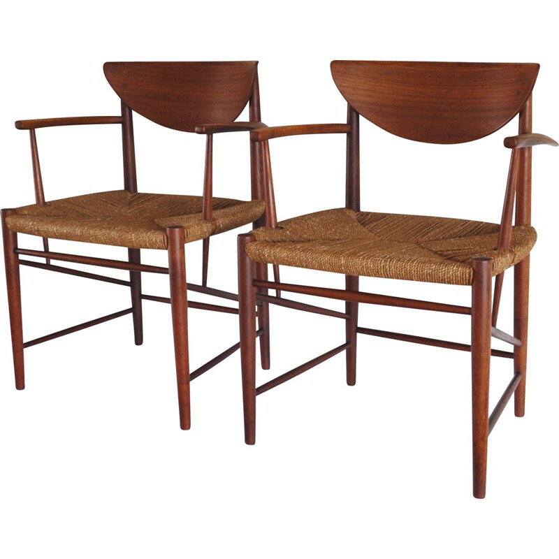 Pair of vintage armchairs model 317 for Søborg in teakwood 1950