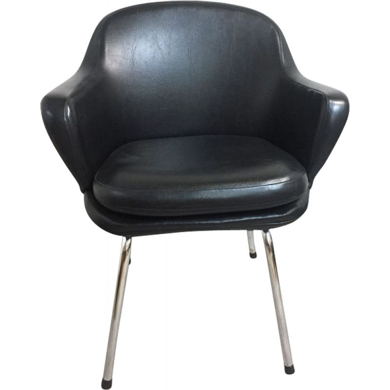 Vintage office armchair in black leatherette and chrome 1970