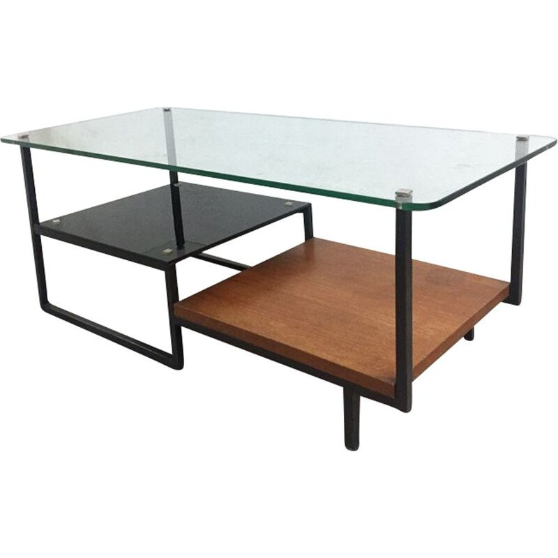 Vintage coffee table in glass and teak Germany 1960