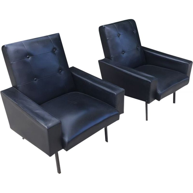Pair of vintage armchairs in black leatherette 1960