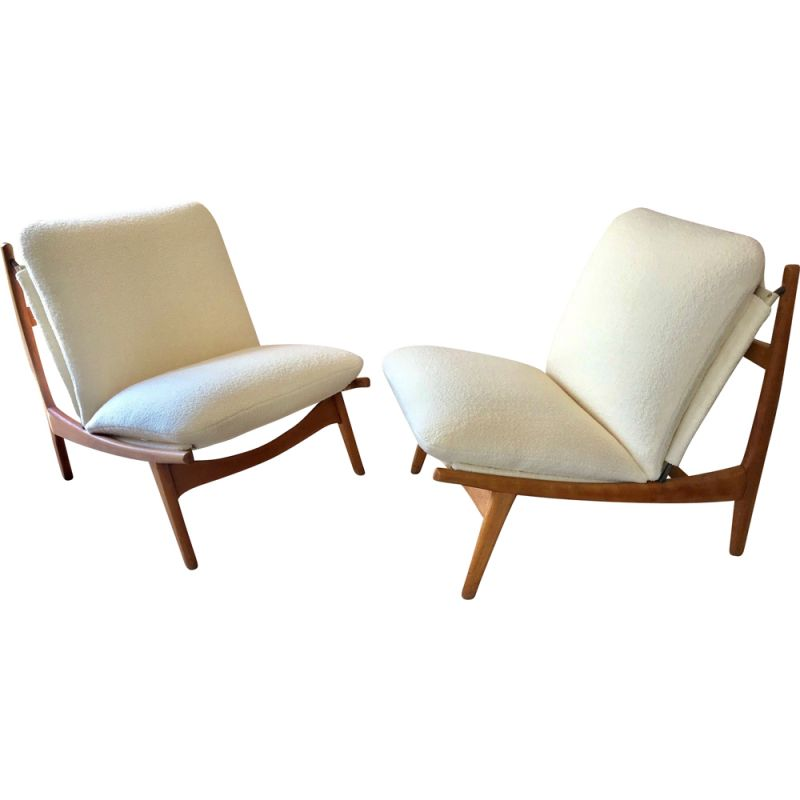 Pair of vintage low chairs 790 by Joseph Andre Motte for Steiner 1960