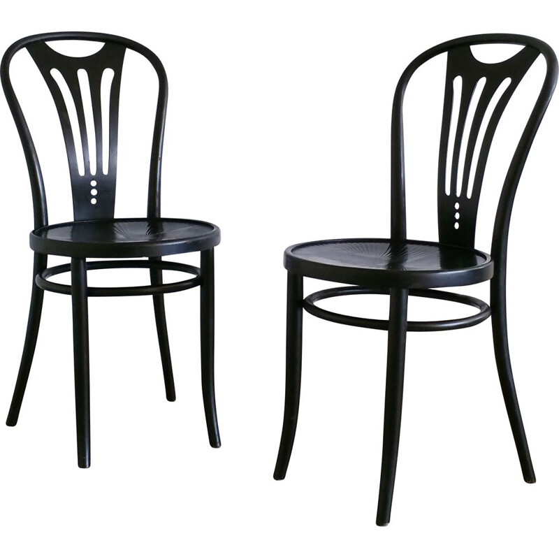 Set of 2 vintage dining chairs black from ZPM Radomsko, 1960s
