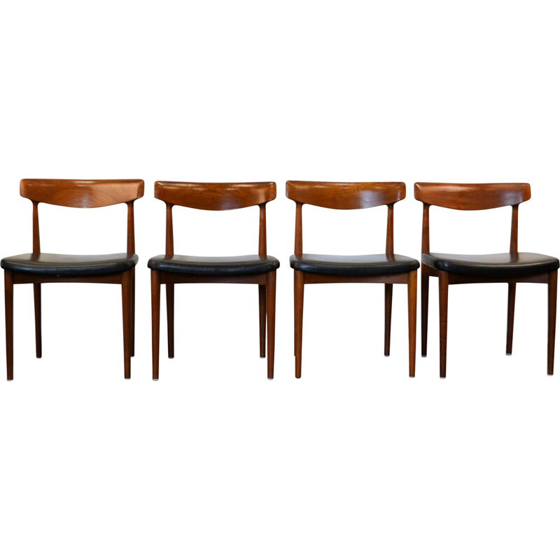 Set of 4 vintage model 532 chairs for Slaelse Movelaerk in teak and leather 1960
