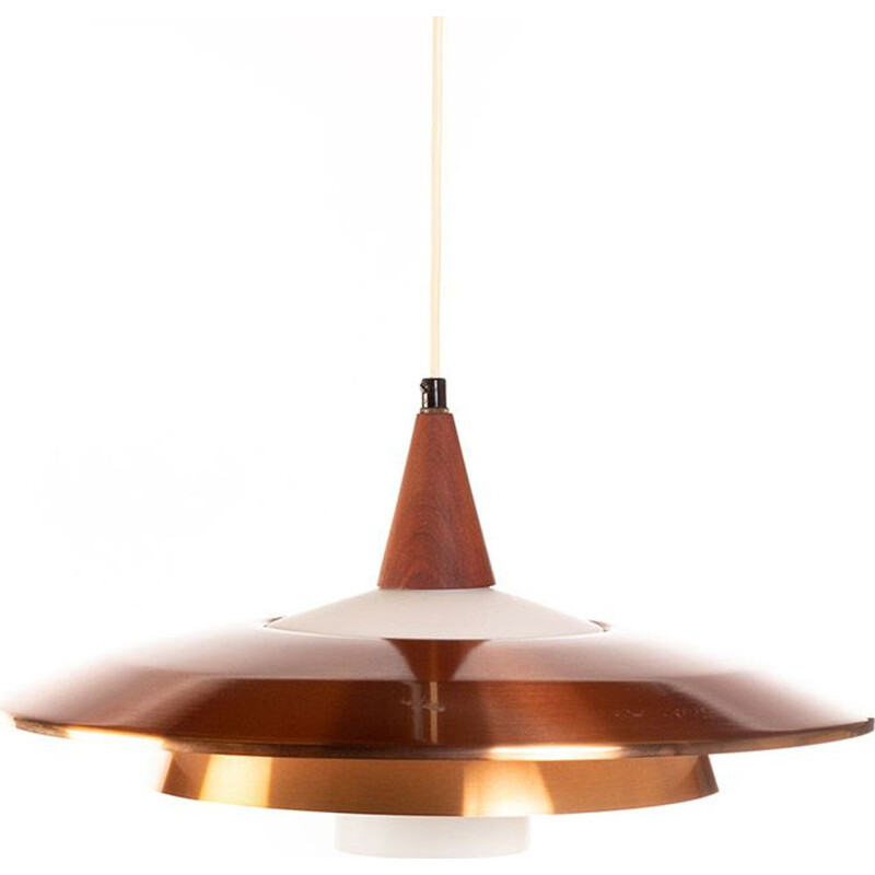 Vintage danish pendant lamp in copper opaline glass and teak 1960