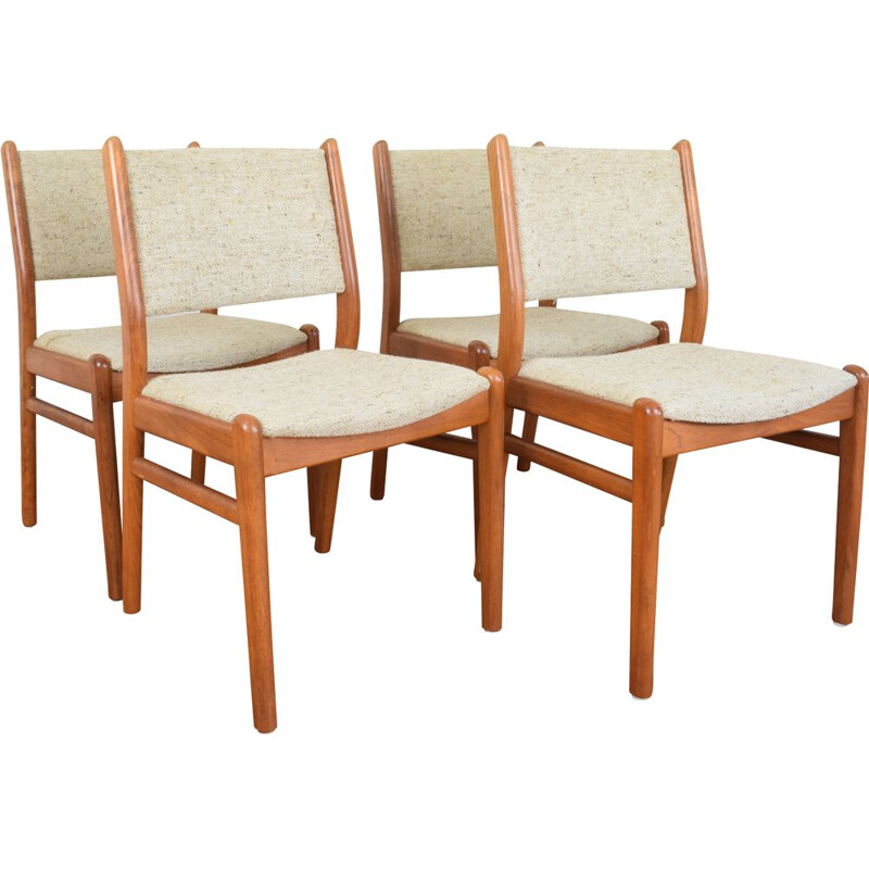 Set of 4 vintage danish chairs in teak and beige wool 1960