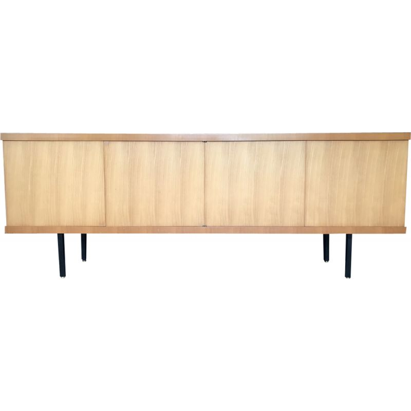 French vintage sideboard for Magnani in elmwood and brass 1960