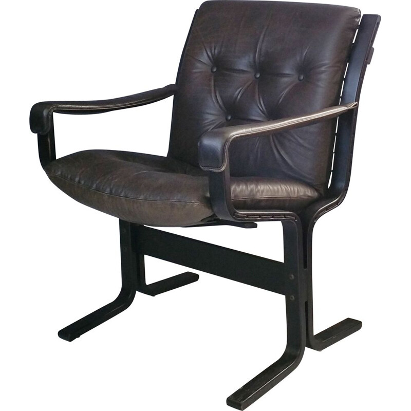 Vintage Siesta armchair for Westnofa in black leather and beechwood 1960