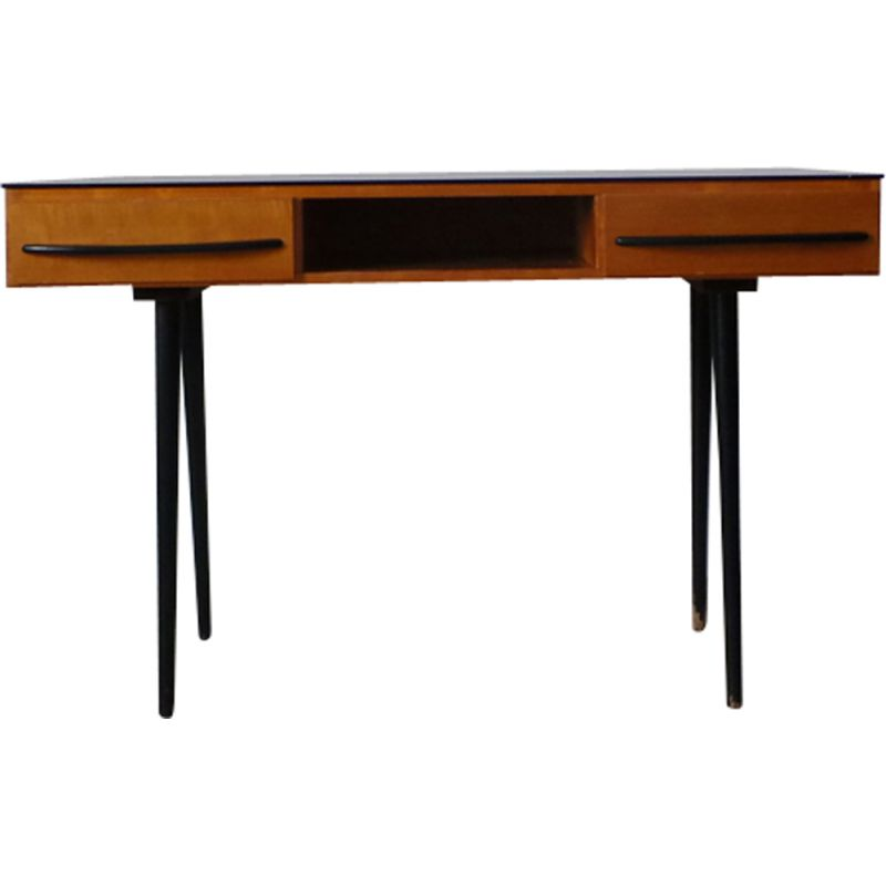 Vintage desk for UP Zavody in wood and glass 1960