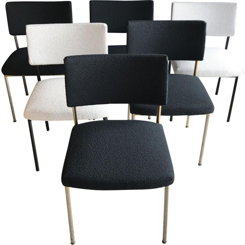 Set of 6 vintage 764 chairs for Steiner in black and white fabric and metal 1960
