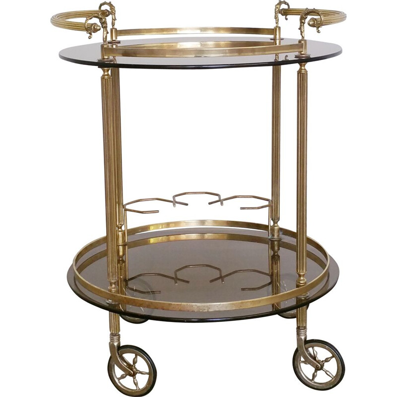 Vintage round brass and smoked glass bar cart trolley 1960